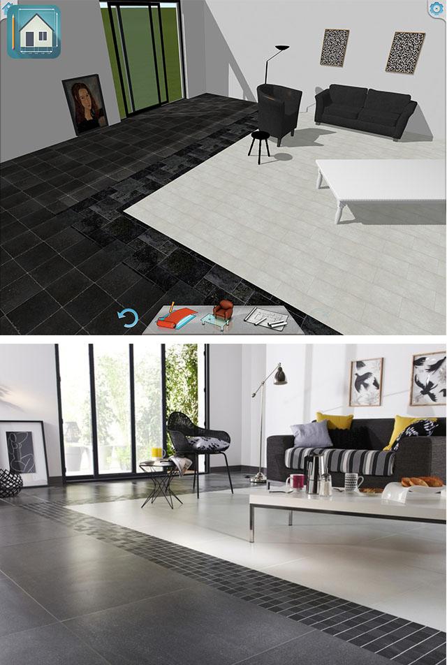 Inspiration d coration sol bicolore keyplan 3d for Decoration 3d sol